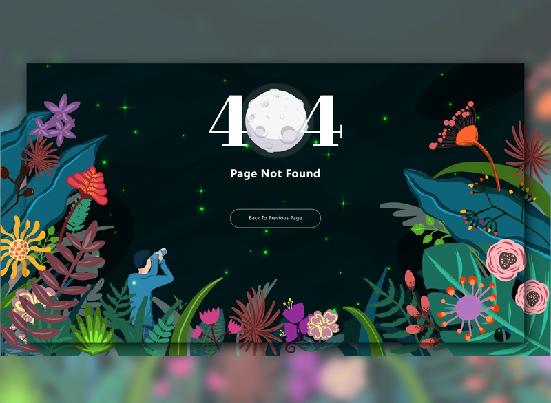 404 Page - Missing In Forest 008 404 error page 404page 404 dailyui008 web adobexd adobe adobe illustrator vector ipadproart ipad ipadpro illustration ux interface ui design dailyuichallenge dailyui