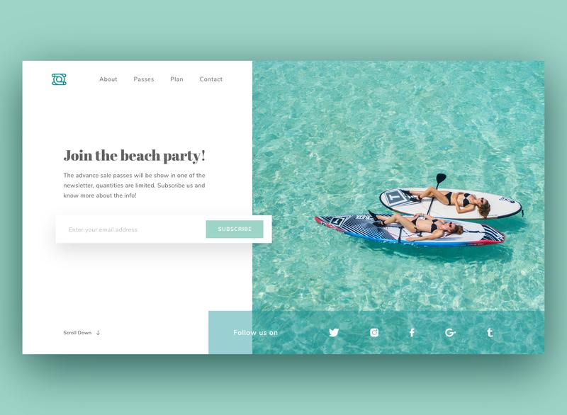 Subscribe Concept 026 dailyui026 clean subscribe beach tiffany blue adobexd ux interface ui dailyuichallenge dailyui design