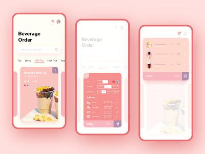 Beverage Order milktea drink order dropdown menu dropdown dailyui027 pink adobexd ios app ux interface ui dailyuichallenge dailyui design