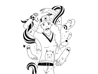 Move your body - T-shirt design japanese merchandise creative cartoon t-shirt style vector hand drawn tattoo doodle character illustration