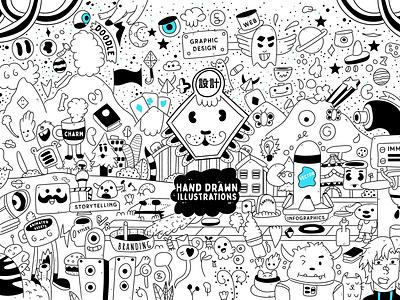 Land of hand drawn illustration doodle vector style creative cartoon graphic design branding digital doodle character illustration