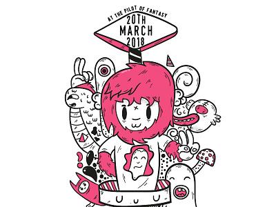 Rock poster - Pilot of Fantasy branding texture vibrant doodle illustration creative cloud adobe creative music rock poster