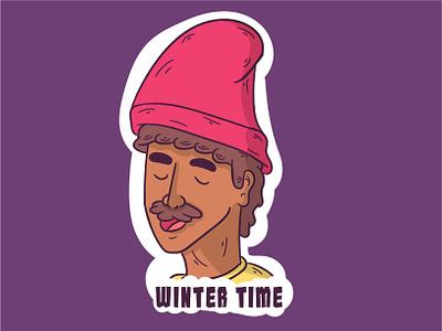 Winter Time sticker colourful cartoon print doodle typogaphy artist illustration fun style creative sticker design