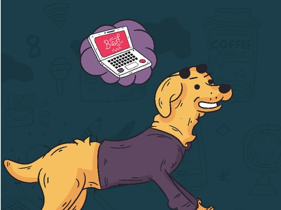 Content Club - Branding dog creative  design explore vector app branding branding cartoon digital character doodle illustration