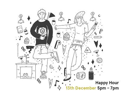 Happy hour - Start up poster art doodle social media branding poster digital vector character illustration