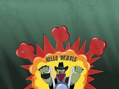 BOOM, Hello dribbble! cartoon biker spongebob explosion hello illustration cartoonish debut