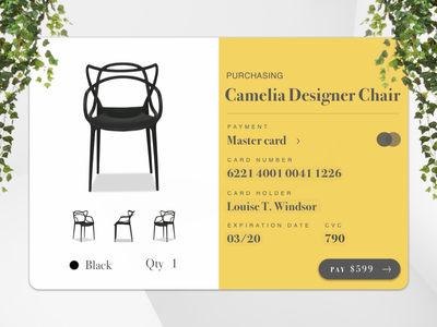Daily UI #002 - Credit Card Checkout payment mastercard black plants checkout yellow daily chair card