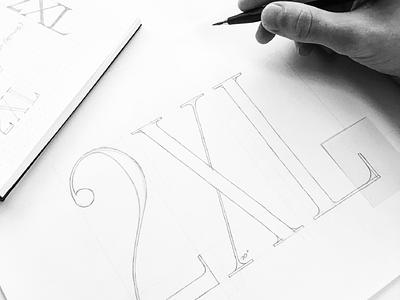 2XL Sketch monogram minimal 2xl serif design logo
