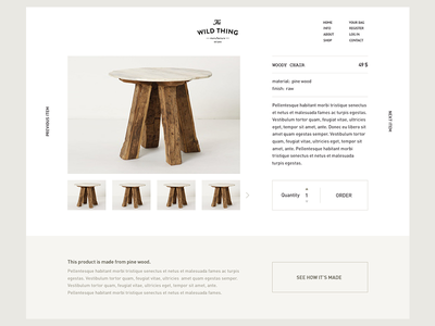 Product page layout website grid