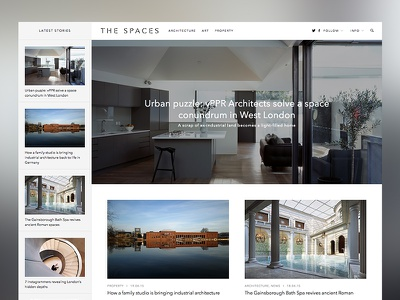 The Spaces - homepage website white clean minimal web design layout