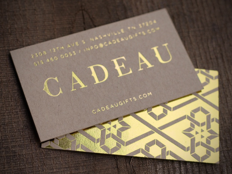 Cadeau business card by brian bobel dribbble printed business cards we designed for a new store opening in nashville gold foil on kraft paper colourmoves