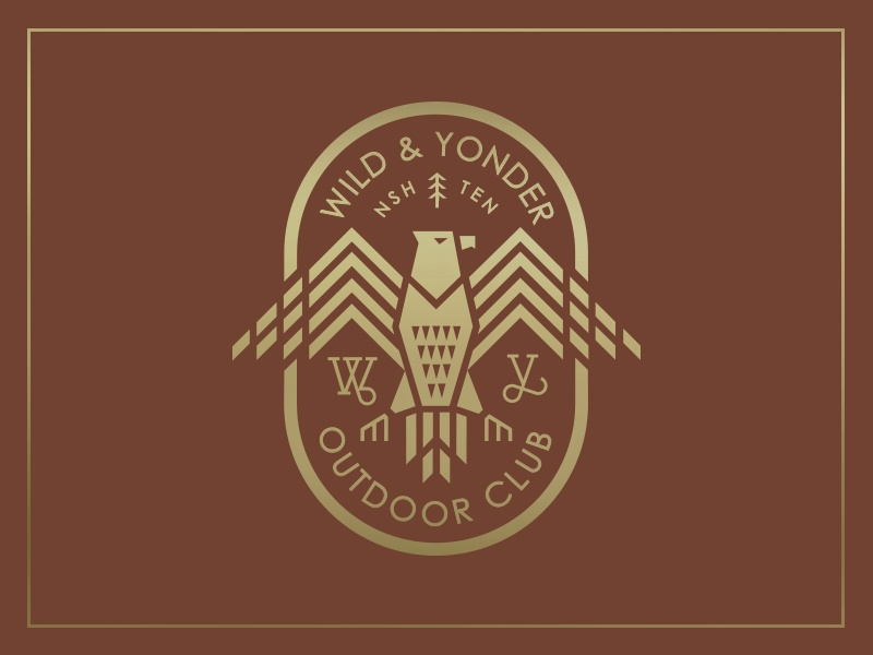 Wild & Yonder badge branding lifestyle brand american illustration explore vintage eagle logo outdoors badge
