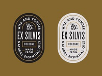 Ex Silvis cologne cologne brand lifestyle outdoors adventure typography bottle vintage badge label packaging
