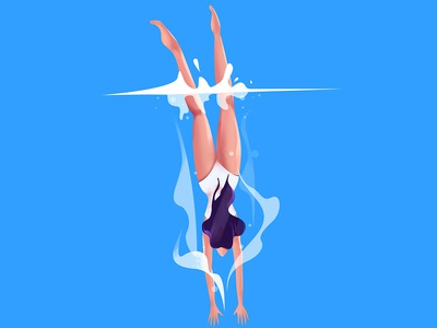 Dive Swimming photoshop blue color water dive swiming design vector character illustration