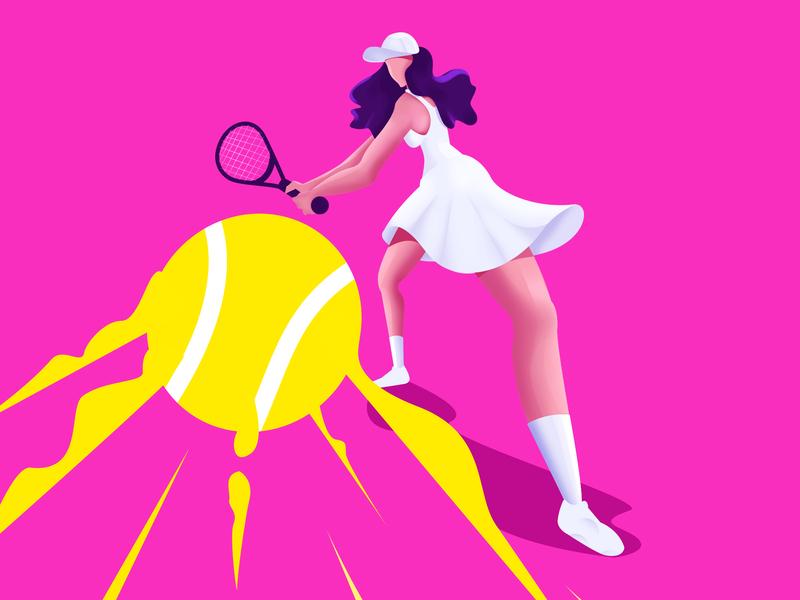 Women's Tennis color bold game ball art minimal vector character tennis illustration
