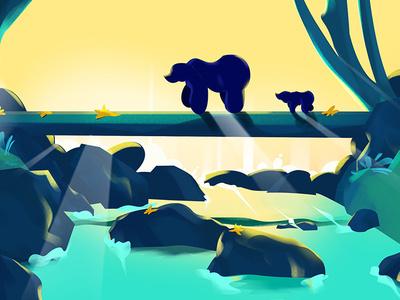 The way design vector waterfall bg character sunsets bear sunset illustration scenery