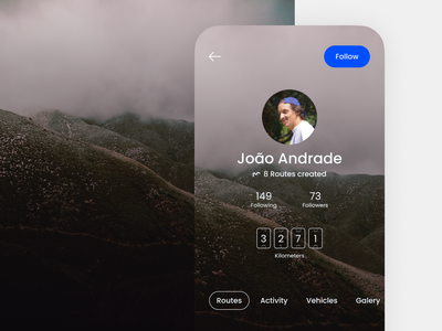 Profile Page - Jeep Routes App profiles profile design profile page profile ui social network social media off road nature mobile ui mobile design app