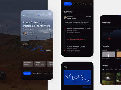 Route Page — Jeep Routes App ux ui design app user experience user interface social media nature mobile ui mobile design app