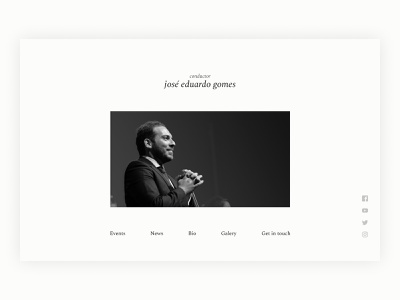 Conductor José Eduardo Gomes Site Redesign - Hero Page hero image bio profile music classical music conductor webdesign visual design user interface ui website hero hero website web