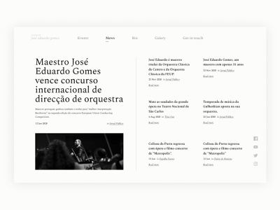 Conductor José Eduardo Gomes Site Redesign - News Page news page newsfeed visual design visual classical music art conductor news webdesign userinterface ui website