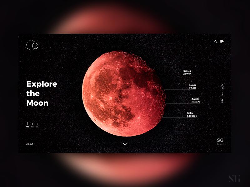 Explore The Moon space moon design minimal website interface web design uiux ux ui