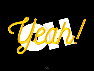 Oh Yeah! (interlaced text effect) adobe gradient 3dtype photoshop illustration design typography