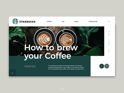 Starbucks Rebranding Web Design/ Presonal project coffee illustrator adobe web design branding typography ux minimal ui design