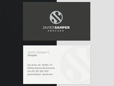 "Lawyer Logo ""Javier Samper"" typography monogram business card lawyer logo design minimal illustrator branding logo"