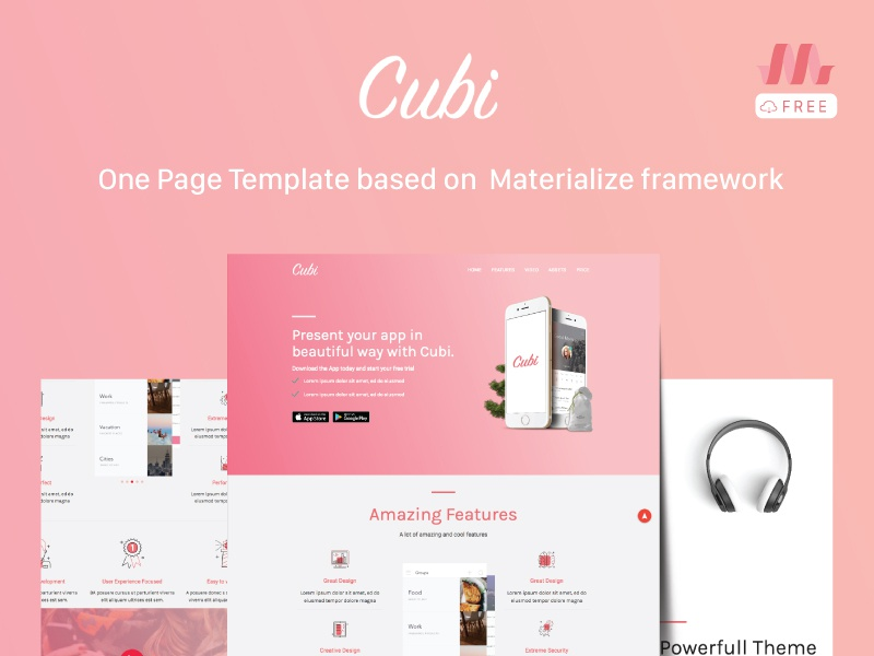 Cubi : A free template based on Materialize promote onepage css3 html5 free freebie materialize