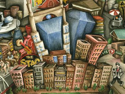 David Macaulay Does Nashville nashville watercolor illustration city portrait buildings detail