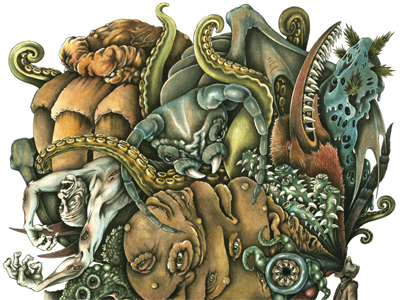 The Retching hp lovecraft watercolor illustration horror lovecraft cthulhu