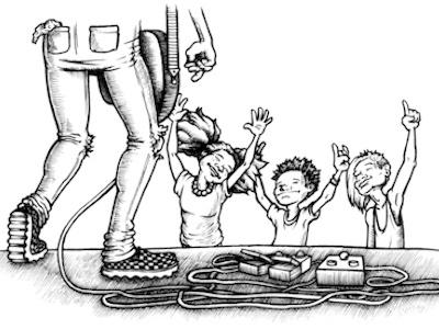all ages venue spot illustration venue editorial concert kids guitar blackwhite illustration ink pen rock