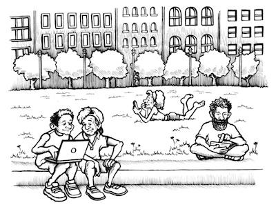 citywide wifi spot illustration drawing cartoon wifi editorial illustration ink pen