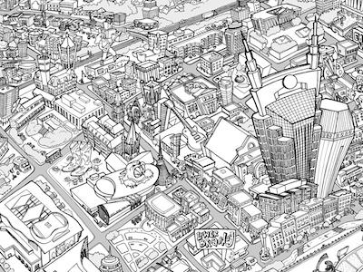 nashville map drawing detail map illustration ink pen nashville
