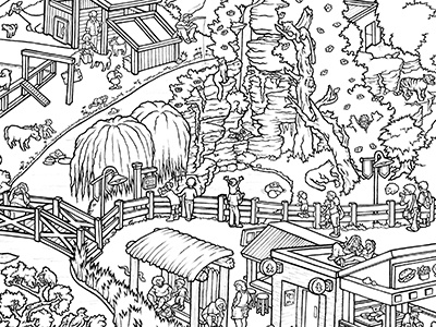 Colorables: Zoo 1/4 detail zoo drawing pen and ink illustration coloring