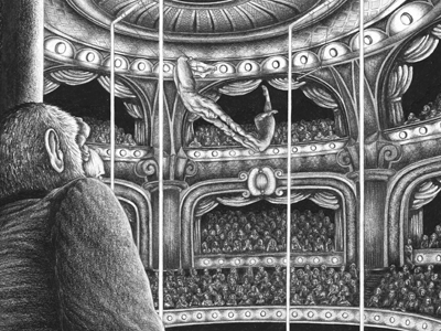 A Report for an Academy: Part II pencil trapeze chimp ape monkey circus kafka illustration book audience