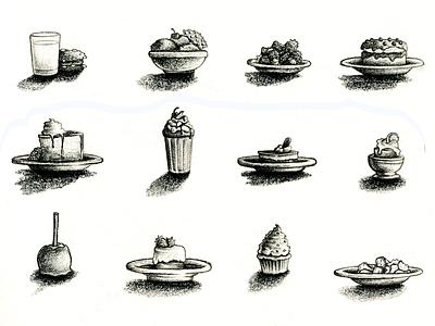 Desserts! dessert drawing food pencil illustration
