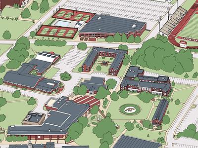 APSU Campus Map map illustration campus architecture building
