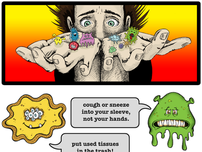 Stop the Spread of Germs Poster cartoon drawing monster pen  ink illustration