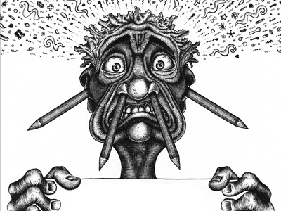 Poster in the Style of Crumb illustration drawing pen and ink crumb poster face eyes crazy