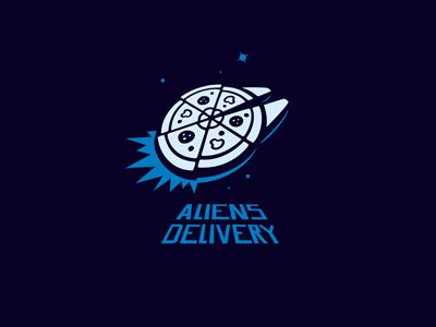 Aliens Delivery pizza space design logo