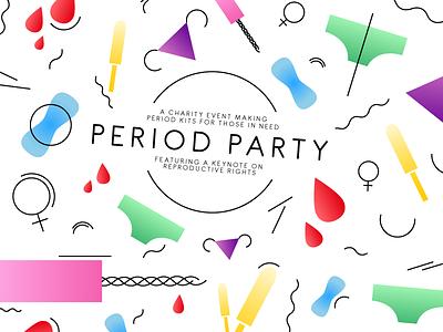 Period Party flyer promotion event female ovaries underwear tampon symbol gradient women nonprofit