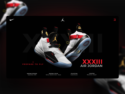 XXXIII AIR JORDAN airjordan shoes website landing design jordan design concept clean ux designer nike