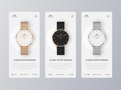 Daniel Wellington Clock design website clean watch clock ux ui minimal ecommence branding brand app