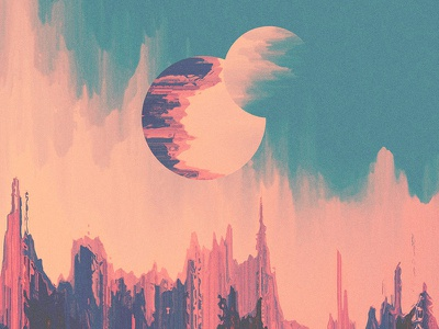 Petrichor. clouds landscape texture design psychedelic geometric abstract moon space illustration