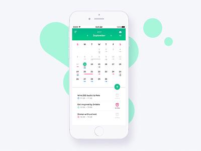 Mobile calendar app clean conceptual alarm weather calendar mobile