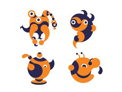 Golden Ratio Fresh Orange drawing icon sketch vector logo minimal design flat illustration art character