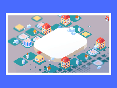 Isometric - Town illustration template ae clouds plane city buildings town isometric illustration isometric design isometric art isometric animation