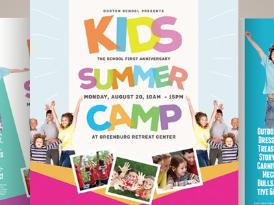 kids summer camp flyers by kinzi wij dribbble. Black Bedroom Furniture Sets. Home Design Ideas
