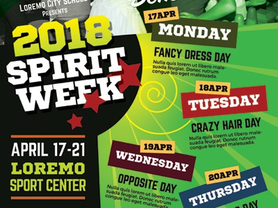 spirit week flyer templates youth week team summer spirit school pride party homecoming flyer ad